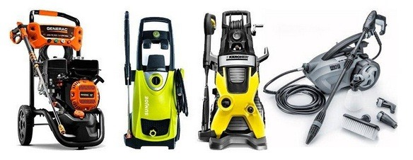 Different models of electric pressure washers